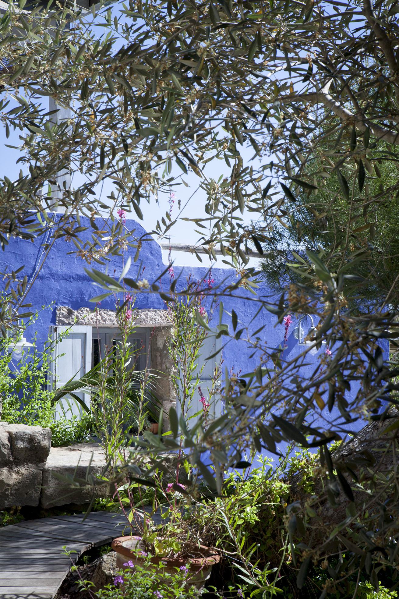 Il giardino e le mura di Casadisale a Carloforte Yoga Resort